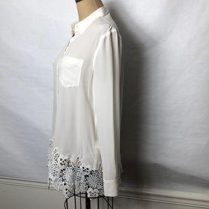 Equipment Tops - Equipment lace hem button front shirt
